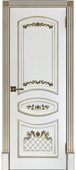 Дверь межкомнатная Алина 2 Патина золото Эмаль белая Глухая
