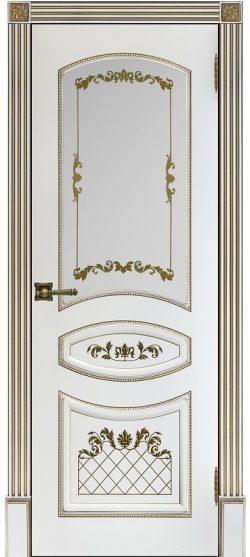 Дверь межкомнатная Алина 2 Патина золото Эмаль белая Остекленная