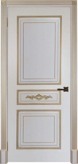 Дверь межкомнатная Лацио Патина золото Эмаль слоновая кость Глухая