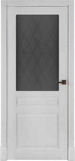 Дверь межкомнатная Прага Эмаль белая Остекленная