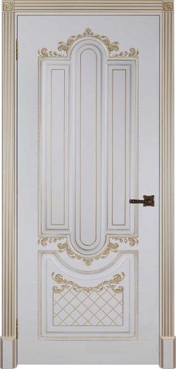 Дверь межкомнатная Александрия 2 Патина золото Эмаль слоновая кость Глухая