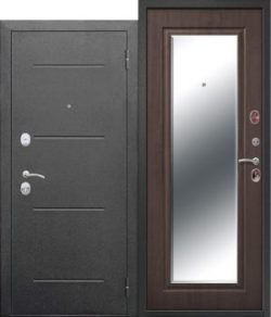 Дверь мет. 7,5 см Гарда Серебро Зеркало Фацет Венге