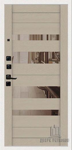 Дверь входная Tesla, цвет дуб мелфорд софт lw, панель – tesla цвет ясень капучино софт зеркало bronze