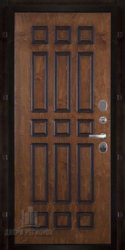 Дверь входная уличная Базилика, цвет полисандр + черная патина, панель – базилика цвет золотой дуб + патина