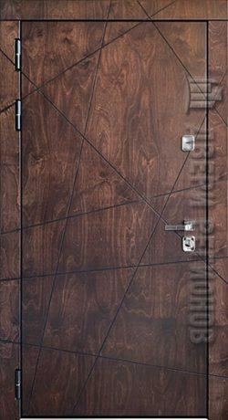 Дверь входная уличная Вегас, цвет лиственница мореная + черная патина, панель – вегас цвет молочный дуб эко