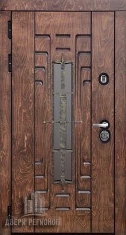 Дверь входная уличная Викинг, цвет лиственница мореная + черная патина, панель – викинг цвет слоновая кость + черная патина